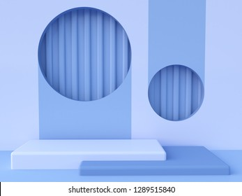 Minimal scene with podium and abstract background. Geometric shape. Blue winter colors scene. Minimal 3d rendering. Scene with geometrical forms and textured background. 3d render.