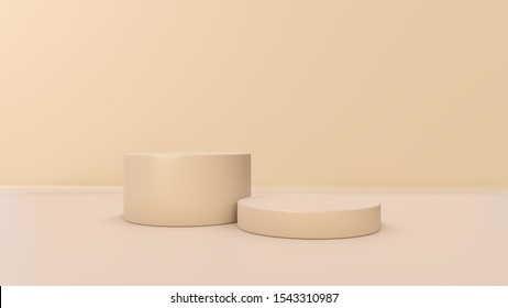 Minimal scene with podium and abstract background. Blue pastel colors scene. 3D illustration