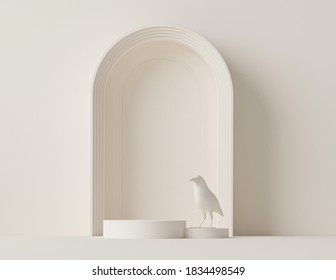 Minimal scene with podium, bird and abstract background. Pastel cream and beige colors scene. Trendy 3d render for social media banners, promotion, cosmetic product show, fashion