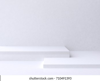 minimal scene square step floor white wall background 3d rendering