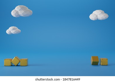 Minimal scene yellow steel block with white cloud on blue background. Geometric shape.3D rendering.Use For Product Showcase.