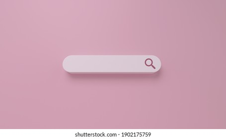 Minimal search bar in white on pink background. web search concept. 3D Rendering