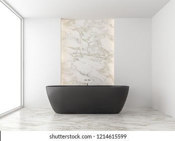 Minimal style bathroom 3d render,There are marble floor,white wall,decorate with hidden light in the wall,Furnished with black bathtub,The room has large windows look out to see outside.