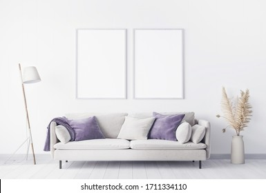 Minimal style in beautiful living room interior with white empty wall, dried flowers decoration, 3D render, 3D illustration