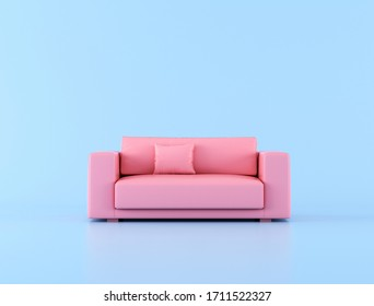 Minimal style of pink sofa on blue background. 3D rendering.