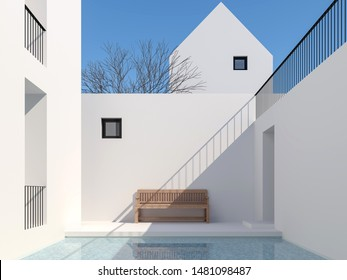 Minimal style pool courtyard 3d render,There are a swimming pool with blue tiles Surrounded by white buildings Decorated with wooden benches With clear sunlight shining down.