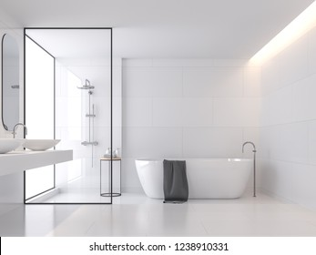 Minimal style white bathroom 3d render, There are large white tile wall and floor .There have glass partition for shower zone,The room has large windows.Natural light transmitted through the room.