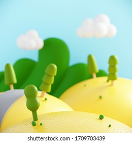 Minimal summer beverage background for smoothie and drink presentation. Yellow summer fields landscape with lemon texture and blue sky. Cafe poster templates mock up . 3d render illustration.