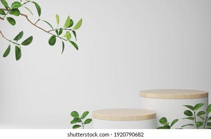 minimal white podium display for cosmetic product presentation, pedestal or platform background, 3d illustration