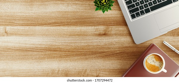 Minimal work space - Creative flat lay photo of workspace desk. Top view office desk with laptop, notebooks and coffee cup. 3d rendering banner