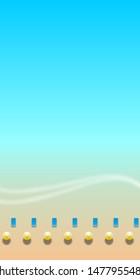 Minimalism background. Overhead view from up. Cote d'azur sea, azure coast, beach umbrella, wave, surf, summer.