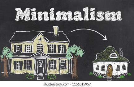 Minimalism illustrated on Blackboard with Chalk