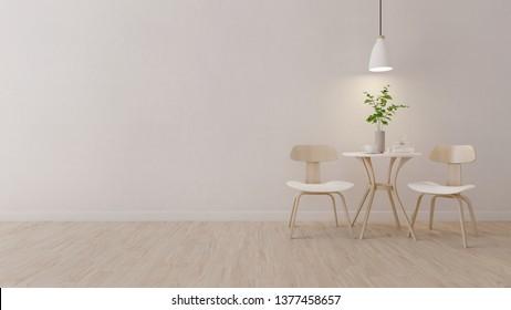 minimalism,modern room with wood chair and vase on wood flooring.3D rendering