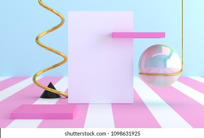 Minimalist abstract background, primitive geometrical figures, pastel colors, 3D render, trend poster