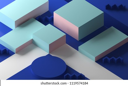 Minimalist abstract background, primitive geometrical figures, pastel colors, 3D render