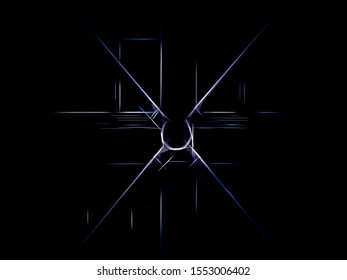 Minimalist abstract of exoskeleton joint on exterior of modern building with industrial look, with digital glow effect, on pure black