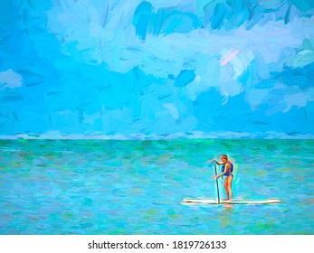 Minimalist abstract of a paddleboarder in her thirties or forties traversing waters near a barrier island in west central Florida, with digital painting effect.