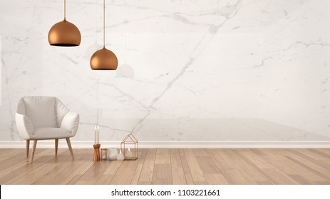 Minimalist architect designer concept background with marble wall, white armchair, candles and decor on parquet flooring, living room interior design with copy space, 3d illustration