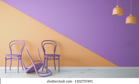 Minimalist architect designer concept with classic colored chairs, one chair turned violet on orange and violet background an marble floor, living room interior design with copy space, 3d illustration