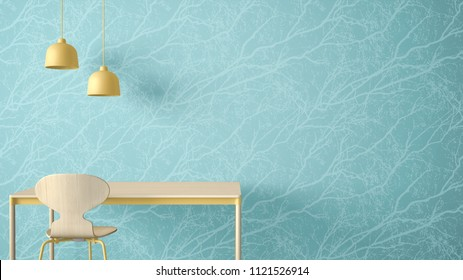 Minimalist architect designer concept, table desk and chair, kitchen or office on wallpaper with forest twigs background, blue and yellow pastel interior design idea with copy space, 3d illustration
