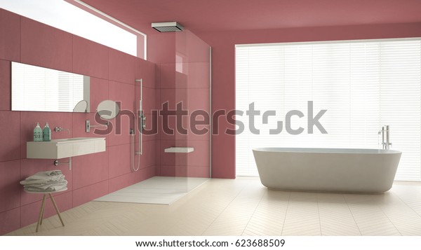 Minimalist bathroom with bathtub and shower, parquet floor and marble tiles, classic white and red interior design, 3d illustration
