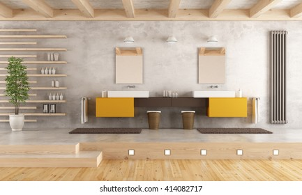Minimalist bathroom with double washbasin on cement platform - 3D Rendering