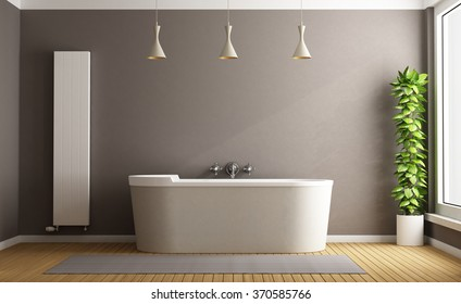 Minimalist bathroom with elegant bathtub, vertical heater and plant - 3D Rendering