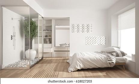 Minimalist bedroom and bathroom with shower and walk-in closet, classic scandinavian interior design, 3d illustration