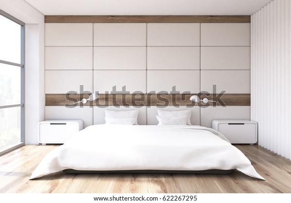 Minimalist Bedroom Interior White Wall Large Stock Illustration 622267295