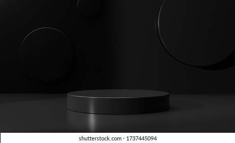 Minimalist black geometric pedestal for product showcase. Abstract black background. Empty mock up template. Cylinder shape. Blank stage. 3d render illustration