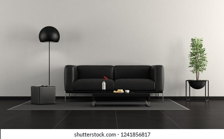 Minimalist black and white living room with leather sofa,footstool and floor lamp - 3d rendering