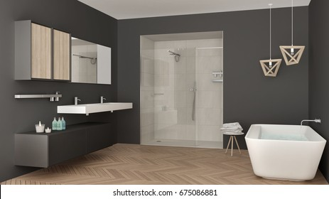 Minimalist bright bathroom with double sink, shower and bathtub, white and gray interior design, 3d illustration