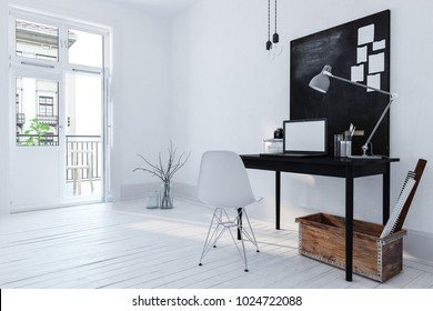 Minimalist chromatic white office interior with a simple writing table, notice board and laptop and wooden box with rolled designs on a wood floor lit by bright daylight from a patio door. 3d render