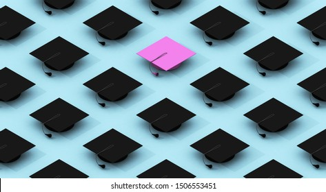 Minimalist composition pattern with black graduation caps on a blue background with a pink graduation cap that differentiates itself. differentiation concept. 3d rendering