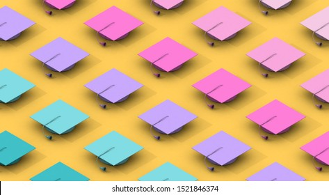 Minimalist composition pattern with diferents colors graduation caps on a yellow background. Differentiation concept. 3d rendering