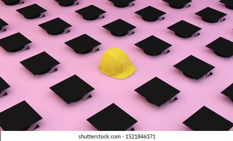 Minimalist composition pattern with diferents graduation caps and one helmet on a pink background. Differentiation concept. 3d rendering