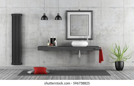 Minimalist concrete bathroom with round washbasin on wooden shelf - 3d rendering