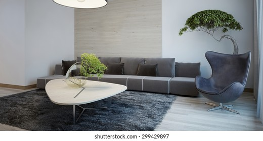 Minimalist design of sitting room. Wide fabric sofa with cushions, egg chair and table, gray wool carpet. 3D render