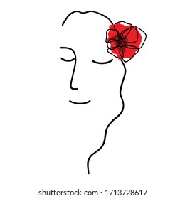 Minimalist drawing of a female face with a poppy flower in her hair