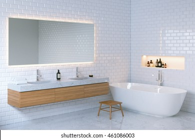 Minimalist elegance bathroom interior. 3d render.