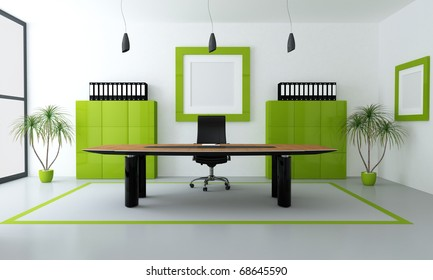 minimalist green and black office space - rendering