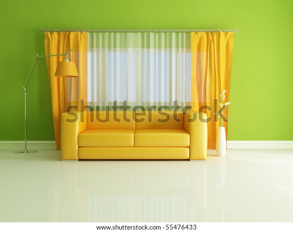 Minimalist Green Orange Living Room Rendering Stock ...