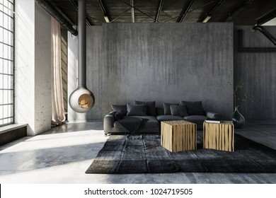 Minimalist Industrial Loft Conversion Living Room With Grey Sofa And Tables  Against Grunge Concrete Walls Warmed