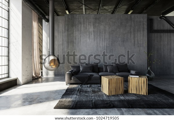 Minimalist industrial loft conversion living room with grey sofa and tables against grunge concrete walls warmed by a suspended fireplace with burning fire. 3d rendering