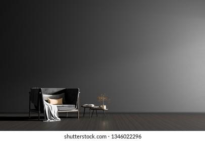 Minimalist interior with armchair. Scandinavian style hipster interior. 3D illustration.