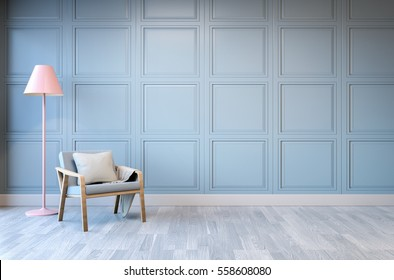 Minimalist  interior design,light green armchair with pink lamp on blue frame wall and white wood flooring , 3d render