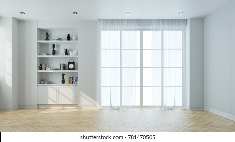 minimalist  interior of living room,empty, parguet flooring and white wall  ,3d rendering