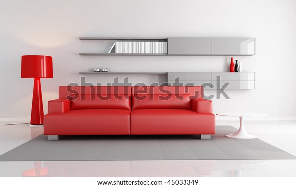 minimalist interior with red leather sofa fashion floor lamp - rendering