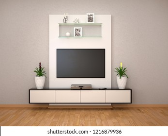 minimalist interior with a tv on the wall. 3d illustration