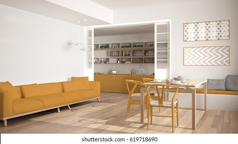Minimalist kitchen and living room with sofa, table and chairs, white and yellow modern interior design, 3d illustration